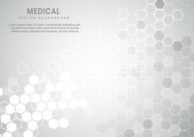 fundo abstrato do projeto corporativo dos hexágonos geométricos brancos e cinza. conceito médico. vetor