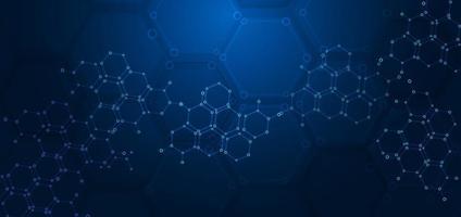 hexágono abstrato padrão fundo azul escuro. conceito médico e científico. estruturas moleculares. vetor