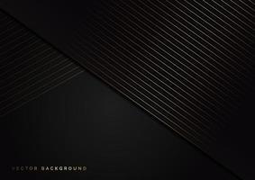 abstratas listras douradas linhas diagonais se sobrepõem em fundo preto. estilo de luxo. vetor