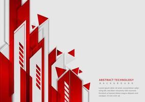 forma geométrica vermelha e cinza corporativa de tecnologia abstrata em fundo branco. vetor