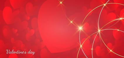 fundo do dia dos namorados. corações vermelhos sobrepostos com ouro de borda de círculo e efeito de luz. vetor