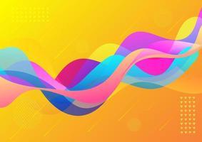 onda vibrante colorida dinâmica abstrata em fundo amarelo. vetor