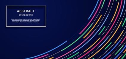 abstrato moderno curvas linhas azul, rosa, laranja, verde, luz néon no design de fundo azul escuro com espaço de cópia para o texto. vetor