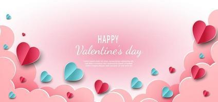 fundo do dia dos namorados. cartão de corte de papel rosa e azul de corações em fundo rosa claro. espaço de nuvens de decoração para texto. vetor