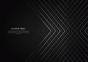fundo preto abstrato com linhas listradas de prata sobrepostas com espaço de cópia para o texto. estilo de luxo. vetor