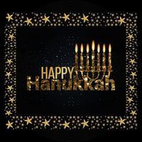 feliz hanukkah com pão doce e vela de ouro vetor