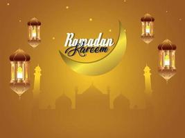 fundo do ramadã com lanterna islâmica vetor
