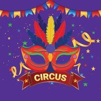 máscara plana de carnaval em roxo vetor