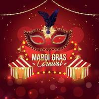 cartão de festa de carnaval com máscara em fundo roxo vetor