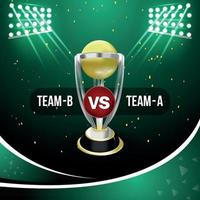 conceito de jogo de críquete com estádio e fundo vetor