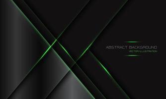 abstrato cinza escuro metálico geométrico barra de luz verde com espaço em branco design moderno luxo futurista tecnologia fundo ilustração vetorial. vetor