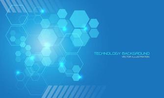 tecnologia abstrata hexágono azul luz geométrica com texto no espaço em branco design moderno fundo futurista ilustração vetorial. vetor