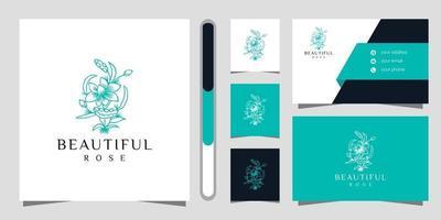 desenho do logotipo da flor e conjunto de cartão de visita