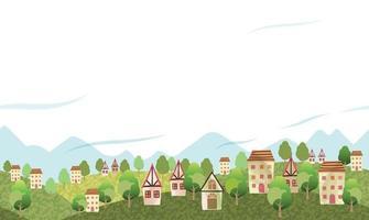 paisagem montanhosa perfeita com uma vila pacífica e espaço de texto. repetível horizontalmente. vetor