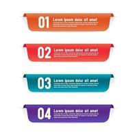 conjunto de modelos de design de banners de infográfico de rótulos de cores vetor