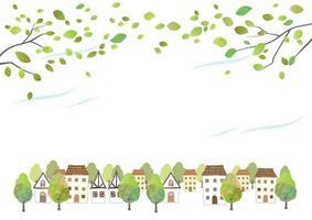 paisagem urbana idílica em aquarela com folhas jovens, isoladas em um fundo branco. ilustração vetorial com espaço de texto. vetor