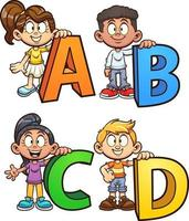 abc cartoon kids vetor
