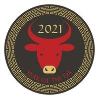vermelho preto tan 2021 ano do boi gráfico do ano novo chinês com borda circular vetor