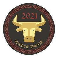 vermelho preto bronzeado 2021 ano do boi gráfico do círculo do ano novo chinês com borda em relevo vetor