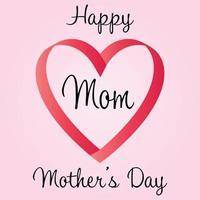 feliz dia das mães coração gráfico de fita vetor