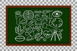 diferentes traços de doodle sobre equipamentos científicos no quadro-negro vetor