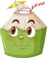 personagem de desenho animado de coco fofo com expressão de rosto feliz em fundo branco vetor