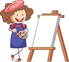 personagem de desenho animado de pequeno artista com quadro em branco isolado vetor