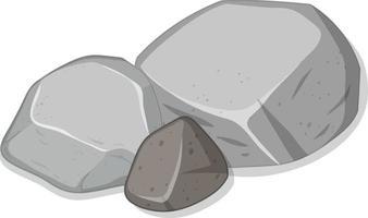 grupo de pedras cinzentas em fundo branco vetor