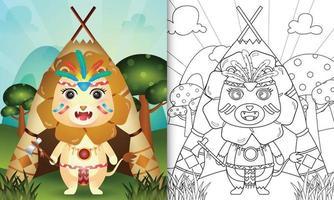 modelo de livro para colorir para crianças com uma ilustração de um leão boho tribal fofo vetor