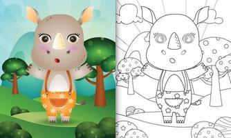 modelo de livro para colorir para crianças com uma ilustração de um rinoceronte fofo