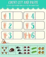 contar cortar e colar planilha de matemática para crianças vetor