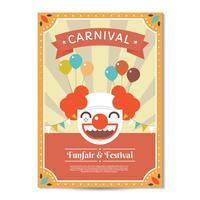 Cartaz de carnaval com vetor de modelo de palhaço
