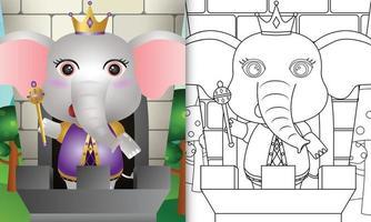 modelo de livro para colorir para crianças com uma ilustração do personagem elefante rei fofo vetor