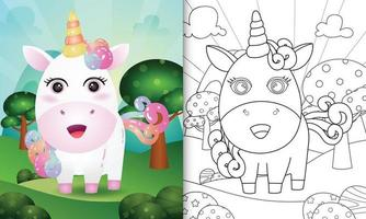 modelo de livro para colorir para crianças com uma ilustração do personagem fofo unicórnio