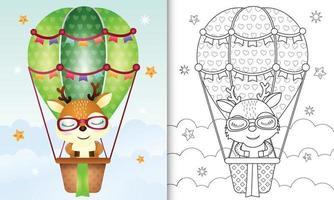 modelo de livro de colorir para crianças com um cervo fofo em um balão de ar quente vetor