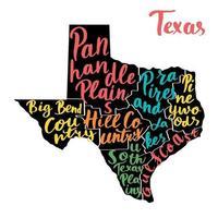 mapa do estado do texas, eua, com nomes coloridos das regiões, escritos à mão. vetor