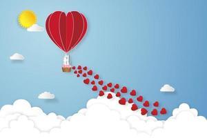 arte em papel, corte e estilo de artesanato digital do amante em balões de ar quente no céu azul e fundo do nascer do sol como conceito de amor, casamento e dia dos namorados. ilustração vetorial vetor