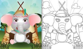modelo de livro para colorir para crianças com uma ilustração de um elefante boho tribal bonito