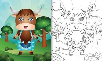 modelo de livro de colorir para crianças com uma ilustração de um búfalo fofo vetor