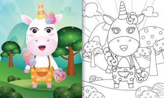 modelo de livro para colorir para crianças com uma ilustração do personagem fofo unicórnio vetor