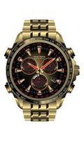 relógio realista relógio cronógrafo ouro preto vermelho design para homens na ilustração vetorial de fundo branco. vetor