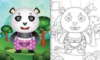 modelo de livro para colorir para crianças com uma ilustração do personagem panda fofo vetor