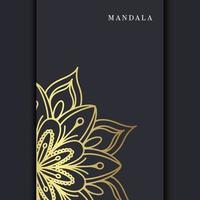 Fundo ornamentado de mandala de ouro de luxo para convite de casamento, capa do livro com elemento de mandala vetor premium
