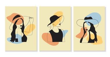 conjunto de mulheres em estilo elegante de arte vetor