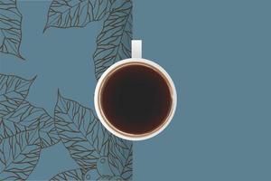 xícara de café vista superior com folhas vetor