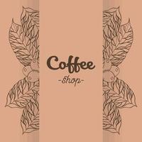 banner de cafeteria com desenho vetorial de folhas e grãos vetor
