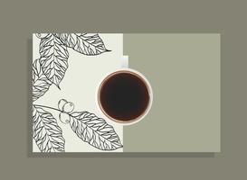 xícara de café vista superior com desenho vetorial de folhas vetor