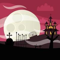 casa de halloween e cemitério à noite desenho vetorial