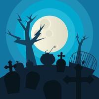 cemitério de halloween e árvore à noite desenho vetorial vetor
