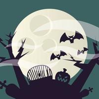 abóbora de halloween em um desenho vetorial de cemitério vetor